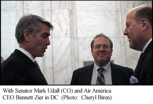 Rob Kall with Senator Mark Udall (CO) and Air America CEO Bennett Zier in DC
